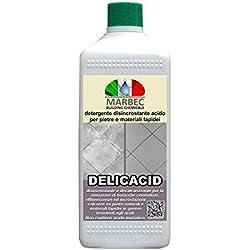 Marbec - DELICACID 1LT   Detergente disincrostante acido per pietre, gres porcellanato e materiali lapidei