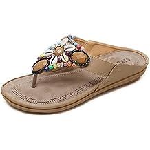 75cd7bc484be Womens Sommer Flip-Flops böhmische flache Ferse Sandalen ethnischen Stil  Perlen Strand Mode Hausschuhe (
