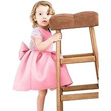 BYSTE Abito Bambina Ragazze Piccola manica a mosca Pizzo Bowknot senza schienale Vestire la principessa outfits Abiti Pizzo Vestito