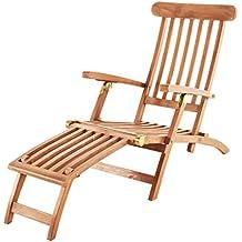 Divero Klappbare Sonnenliege Gartenliege Relaxliege Holzliege Liege Aus  Unbehandeltem Teak Holz 200x57x34 Extra Hohe Und Bis ...