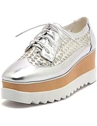 Verano Mujer Vintage Oxford Plataforma Casual Zapatos Cuadrados Toe al Aire Libre Travesaños Cruzados Enredaderas Antideslizantes