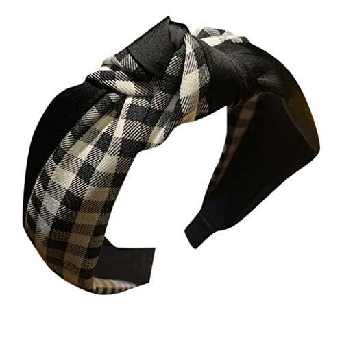 CANDLLY Stirnband Damen, Kopfbedeckung Zubehör Frauen Gestreiftes Karierten Leopard Bogen Stirnbands Haarband Haargurt Zubehörs Kopfschmuck (Schwarz,One size)