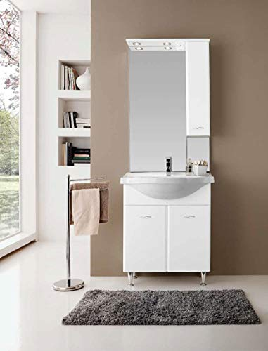 LIBEROSHOPPING.eu - LA TULA CASA IN UN Click Mobile Bagno Ivana mit Spiegel weiß glänzend 75 cm