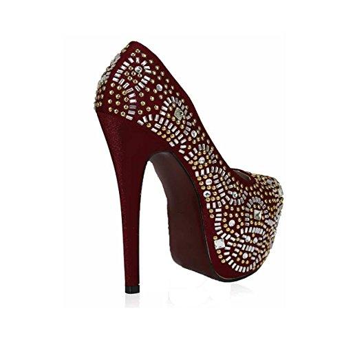 Günstige Schuhe Damen Pumps Perlen Kristall-Dame-Plattform-Party Hochzeits-Absatz New Embellished Größe 3 -8 Stil 2 - Rot