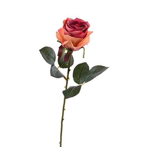 artplants Künstliche Rose Simony, lachs-rosa, Textil, 45cm, Ø 8cm – Kunstblume