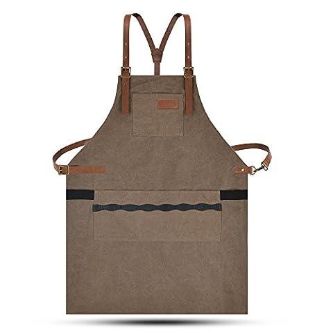 Lurad Outil Tablier durable Duty sur toile étanche et réglages de taille Atelier Tablier avec poches pour homme et femme, Brown-1, Leather Style
