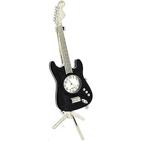Miniature Guitar Black Ornamental Novelty Collectors Clock on Stand 0354