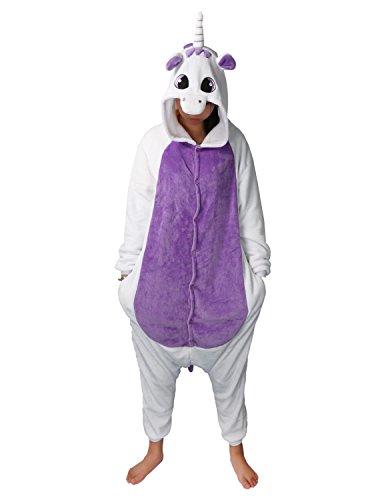 Pyjamas Licorne Adulte Unisexe Kiguruma Unicorn Cosplay Animaux Nuit de vêtement (L(Hauteur 163-173), Violet)