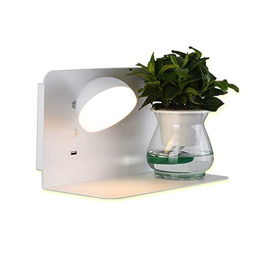 Aplique LED Lámpara cabecera Puerto USB Lámpara