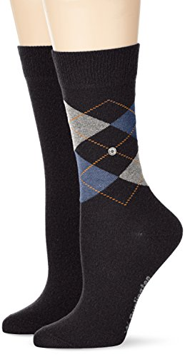 Burlington Damen Socken Everyday Argyle-Uni Mix, Grau (Anthra.Mel 3081), 36/41