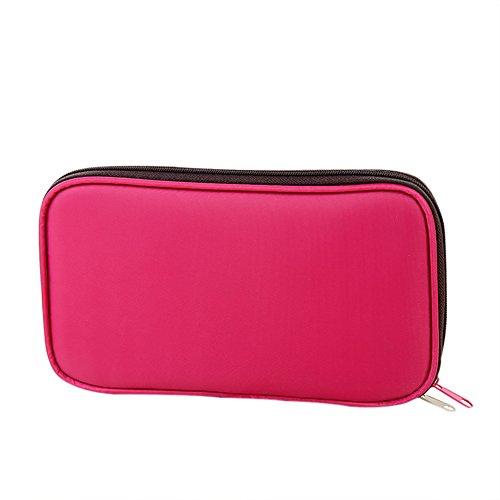 WeiMay Sac à Crayons Femme Multi-fonction Rose Rouge Créatif Zipper Sac de Papeterie Sac Cosmétique