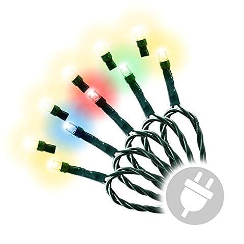 200 LED Lichterkette Farbwechsel warm weiß bunt mit 9 Funktionen grünes Kabel dimmbar wechselndes Licht Blinkfunktion Außen Weihnachtsdeko Party Garten Terrasse Balkon Funktionslichterkette mit Netzteil Trafo Länge 30 m Zuleitung 10