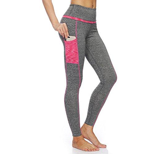 bjerka Damen Legging-s, Sport Leggin-s für Mädchen lang-e, Hohe Hüfte Taille, High Waist Zumba Yoga Pant-s Sporthose-n, Laufhose-n, Grau Light Grey M