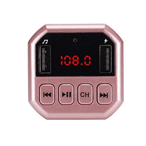 Oumij Bluetooth Wireless im Auto FM Radio Adapter, Auto Bluetooth Wireless MP3 HD Player FM Transmitter Modulator mit Eigenem Ladegerät(Rosa)