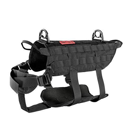 OneTigris Power Rocket K9 Taktische Hundeweste Hunde Harness MOLLE Verstellbar Hundegeschirr für Service Hunde Haustier Hund  MEHRWEG Verpackung (L, Schwarz) (Service-hund-ausrüstung)