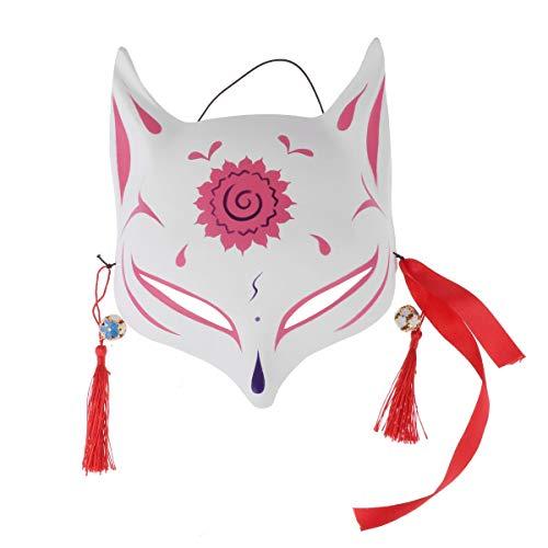 dPois Erwachsene Japanische Fuchs Halbmaske Gesichtsmaske mit Quasten und Glöckchen Cosplay Kostüm Maske für Masquerades Party Karneval Rosa One Size (Japanische Kostüm Accessoires)