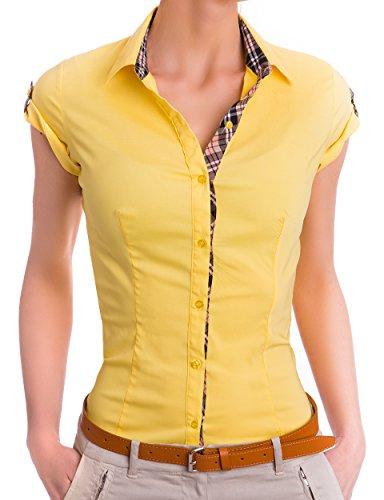 Damen kurzarm Hemd Blusen 3/4 Ärmel ( 527 ), Farbe:Gelb, Größe:X-Large (Seiden-bluse Gelbe)