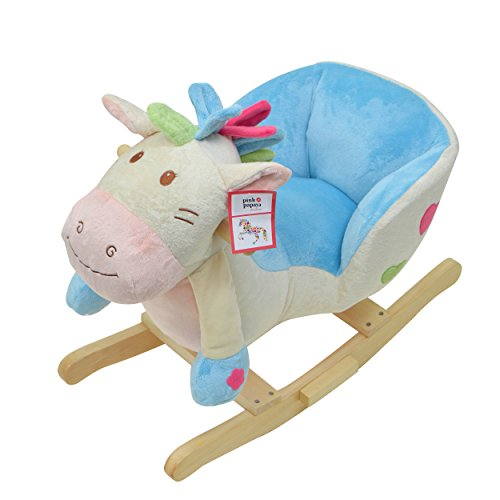 Pink Papaya Rocking Animal Benny for Children and Babies Rocking horse, Special rocking chair for kids, with sound, head height approx. 50 cm, seat height approx 30 cm