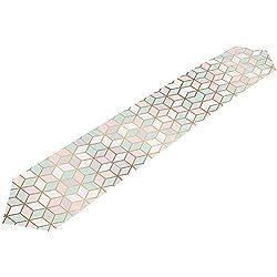 Marbre Texture Avec Chemin De Table Moder Géométrique Cubes D'or, Chemin De Table En Tissu Pour La Cuisine De Fête De Mariage À Manger À La Maison, 229 X 33 Cm