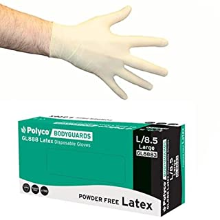 Bodyguards GL888 Powder Free Disposable Latex Gloves - Box of 100 (Large)
