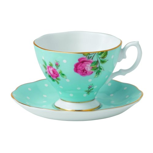 Royal Albert Polka Blaue Vintage Espresso Tasse und Untertasse (Untertasse Und Albert Tasse Royal)