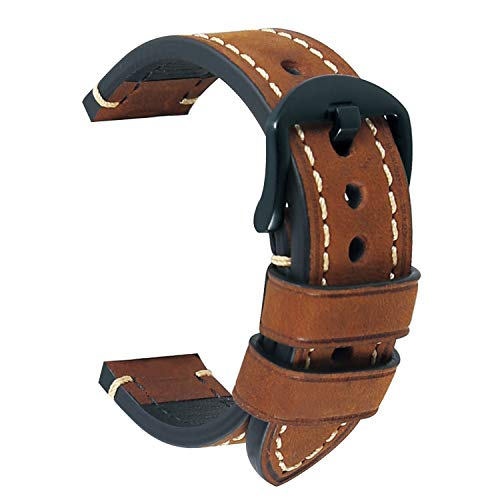 Uhrenarmband 24mm Ersatz-Uhrenband Leder Uhrenarmband Männer Armband Zubehör Braunes Herrenuhrenarmband Schwarz plattierte Stahlschnalle