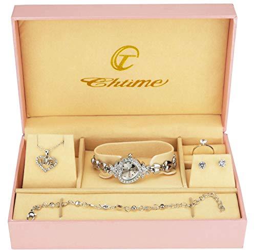Geschenkset Damen Armbanduhr- - Schmuck Set- Halskette-Ring- Ohrringe