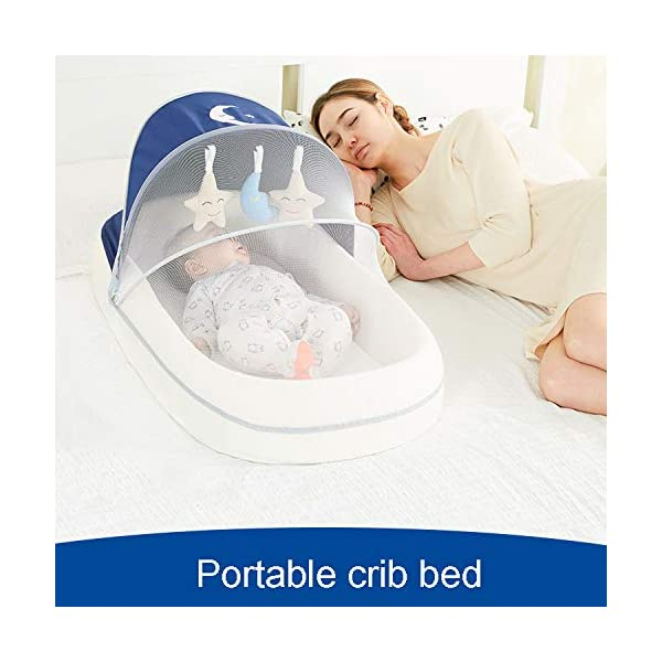 YANGGUANGBAOBEI Travel Crib,for Newborn,100% Cotton Newborn Portable Bassinet Crib,for 0-24 MonthBaby Care - The All In One Baby Lounger,Blue(C) YANGGUANGBAOBEI ✔ [BREATHABLE - WASHABLE]: Thousands of mesh holes and elastic layer maintain air circulation. The baby sleep pod can offer your baby good breathing environment when he sleeping.Even after repeated washing, its zipper will remain well. ✔ [ADJUSTABLE - FOLDING]: The slope of the head position of the baby bed can be adjusted from 5 to 30 degrees, it is not only suitable for sleeping, but also can be a baby bean bag. The folding design is easy to carry when you travel outside. ✔ [SOFT PAD - INSIDE DIMENSIONS]: This baby bed comes with an extra soft foldable cushion. You don't have to add anything extra to make your baby feel comfortable. The plastic frame is BMC material which is very light and firm. 4