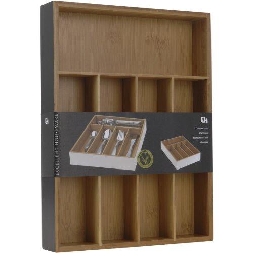 Besteckeinsatz   5 Fächer   Bambus   Maße (LxBxH): 35 x 26 x 5 cm   Besteckkasten (schwarz)
