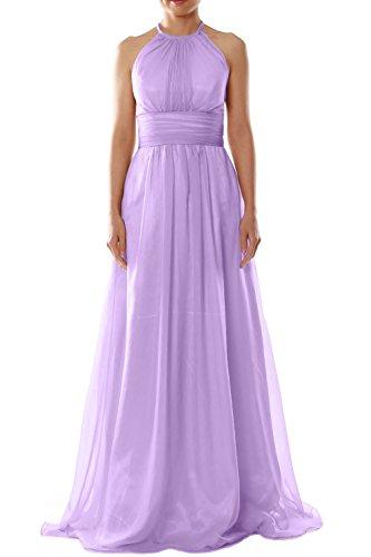 MACloth Women Halter Chiffon Long Bridesmaid Dress Wedding Party Evening Gown Lavendel