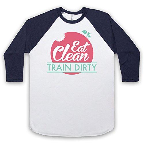 Eat Clean Train Dirty 3/4 Hulse Retro Baseball T-Shirt Weis & Ultramarinblau