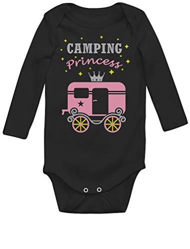 Green Turtle T-Shirts Camping Princess - Camp d'été Fille Body Bébé Manche Longue Newborn Noir