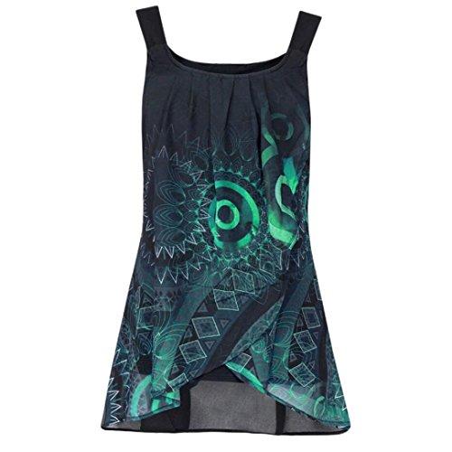 OSYARD Damen Druckbluse mit Allover-Druck Mode Hemd ÄrmellosesO-Ausschnitt Sling Weste Tank Tops Bluse Casual Camisole(EU 44 / L, Grün)