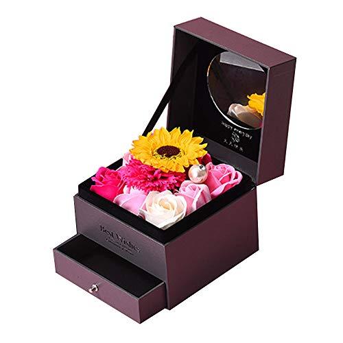 gift Soap Rosen, Doppel-Schublade Halskette Geschenkbox Geburtstag Geschenkset Holzkiste Geschenkbox, Geburtstagsgeburtstagsgeschenk-Hochzeitsmuttertags