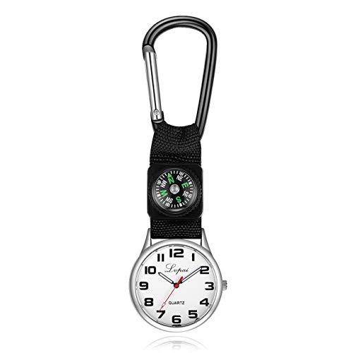 Ballylelly Karabiner Uhr Männer Frauen Taschenuhr Gürtelclip Tunika Uhr Brosche mit Kompass für Ärzte Krankenschwestern Sanitäter Köche Sport