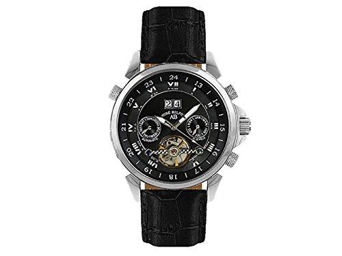 André Belfort 410022 - Reloj analógico de caballero automático con correa de piel negra - sumergible a 50 metros