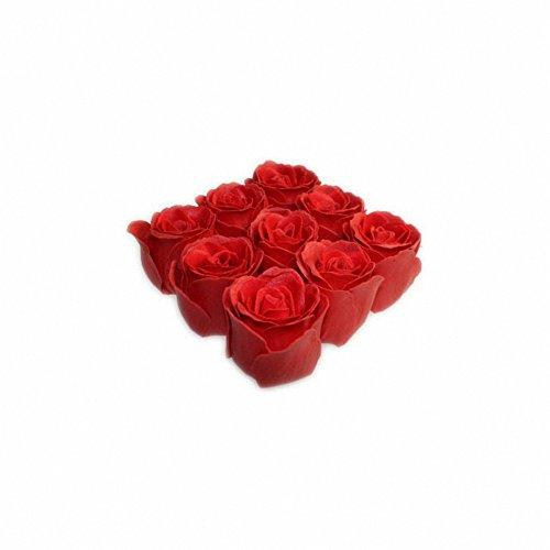 Roses de bain – 9 roses dans une boîte cadeau (Rose). Parfum rose, couleur rouge. Contient 9 roses de bain dans une boîte cadeau, finition avec un ruban.. un cadeau parfait – Idéal pour les anniversaires, Noël...
