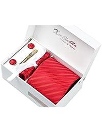 Coffret Cadeau Ensemble Cravate homme, Mouchoir de poche, épingle et boutons de manchette Rayures Rouges
