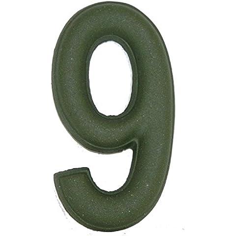 Numero Civico 9 Ceramica In Gres - Colore Verde Smeraldo Naturale cm11x6 h1,5