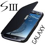 Q1 Étui à rabat pour Samsung Galaxy S3 i9300/S3 LTE i9305 Noir