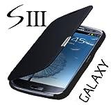Q1 Samsung Galaxy S3 Neo Gt - i9301i / S3 i9300 / S3 LTE i9305 Flip Cover Schwarz/Black Hülle Tasche Akkudeckel Flip Case