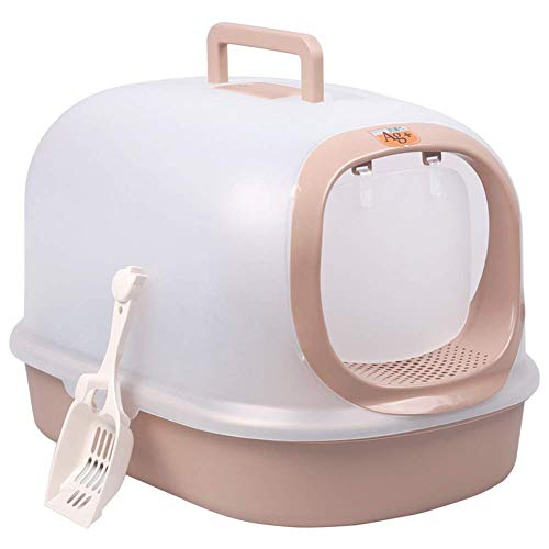Translucent Hooded Cat Litter Pan, Large, Litter Boxes with Shovel, Portable Handle Cat Llitter Tray (Color : Brown)