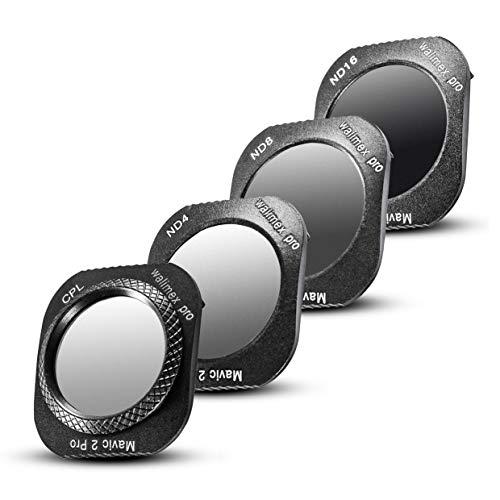 Walimex pro Drohnenfilter Set DJI Mavic 2 Pro - Filter Polfilter CPL, Graufilter ND 4, ND 8, ND 16, ideal für Landschaftsaufnahmen, optisches Glas, wasserdichter Aluminiumrahmen, schwarz