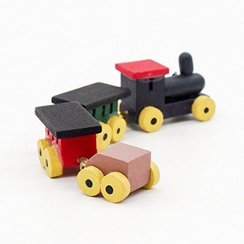 Odoria 1/12 Miniatur Holz Zug Set Für Puppenhaus Dekoration Zubehör Miniatur-zug