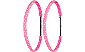 Ivybands® Mom's & Kids Edition | 2-er Pack | Deep Pink White Dots | Pink Weiss Gepunktet | Anti-Rutsch Haarband für Mutter/Mütter & Kinder/Kind | Kinderhaarband IAMKID024
