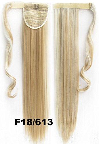 Haarverlängerung Zopf, 90 g, 56 cm, zum Anklipsen, glattes Haar, Farbe Nr. 18/613 Helles Aschblond / Blond-Mix