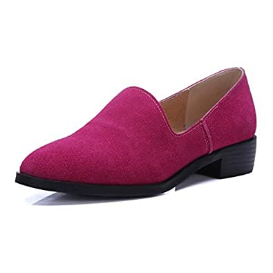 BalaMasa Girls Square Heels Low-Cut Uppers Thread Rosered Frosted Pumps-Shoes - 5.5 UK