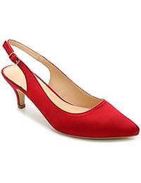 ComeShun Mujer Zapatos de Tacón Bajo de Aguja Clásico Espigón de Fiesta y Boda Para