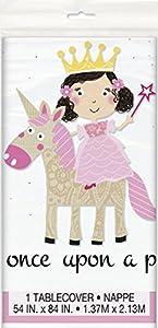 Mantel de Plástico - 2,13 m x 1,37 m - Fiesta de Princesa y Unicornio
