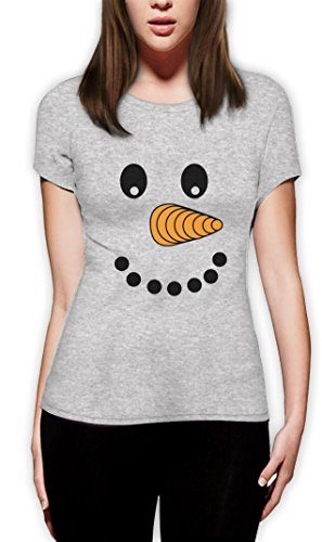 Happy Snowman Gesicht Frauen T-Shirt Grau